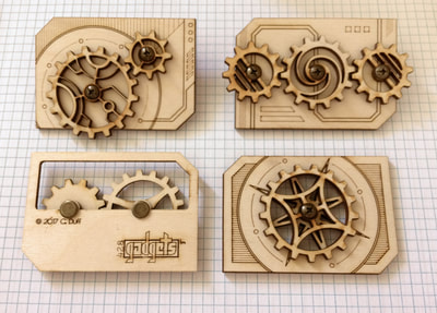 Several Wooden Gear Gadget Cards